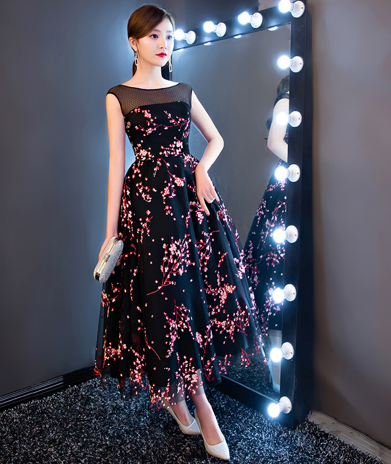 Bridesmaid Dresses New Arrive Flower Printed Middle Length O Neck Backless Tulle Slim Backless Wedding Party Dress Robe Soiree