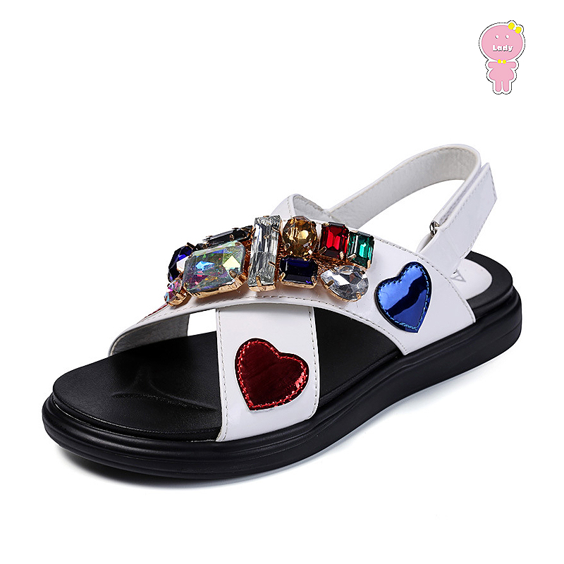 Summer Quality Girls Sandals Kids Beach Shoes Children Sandals Baby Shoes Faux Crystal Love Patch Patent Leather 3 To 13 Yrs