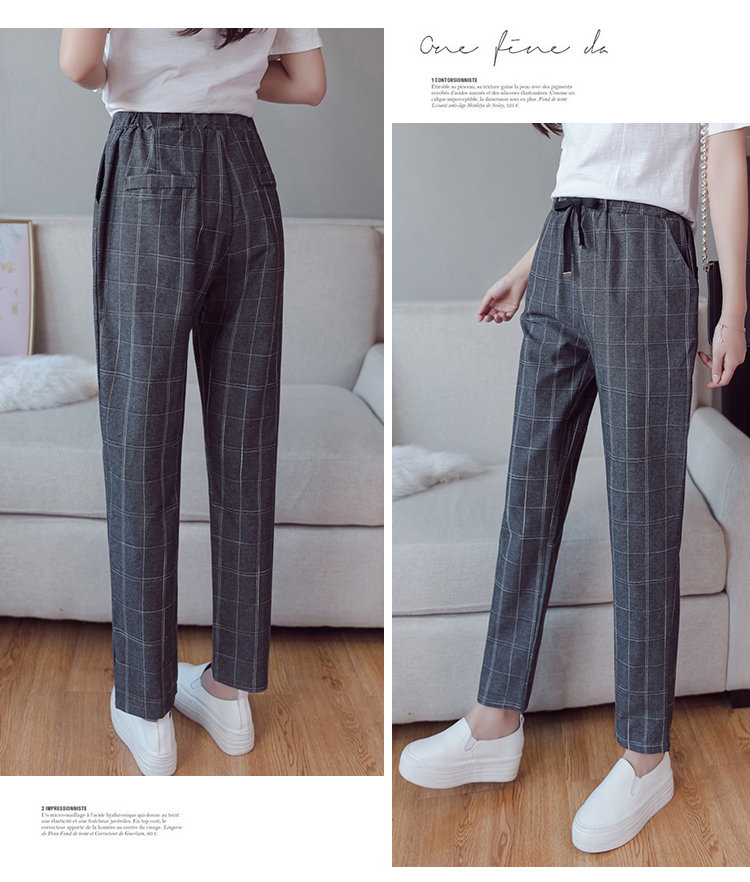 Make English plaid pants female easy to restore ancient ways recreational pants the spring and autumn period and the new female 13