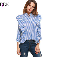 DIDK Blouses For Women Long Sleeve Shirt Ladies Tops Band Collar Blue Vertical Striped Hidden Button