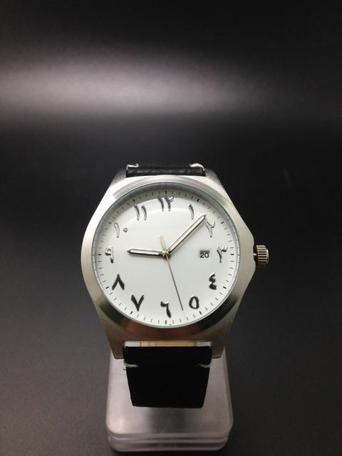 Caso de plata Árabe Relojes Japón Movimiento de Cuarzo de cuero Bandas Únicas