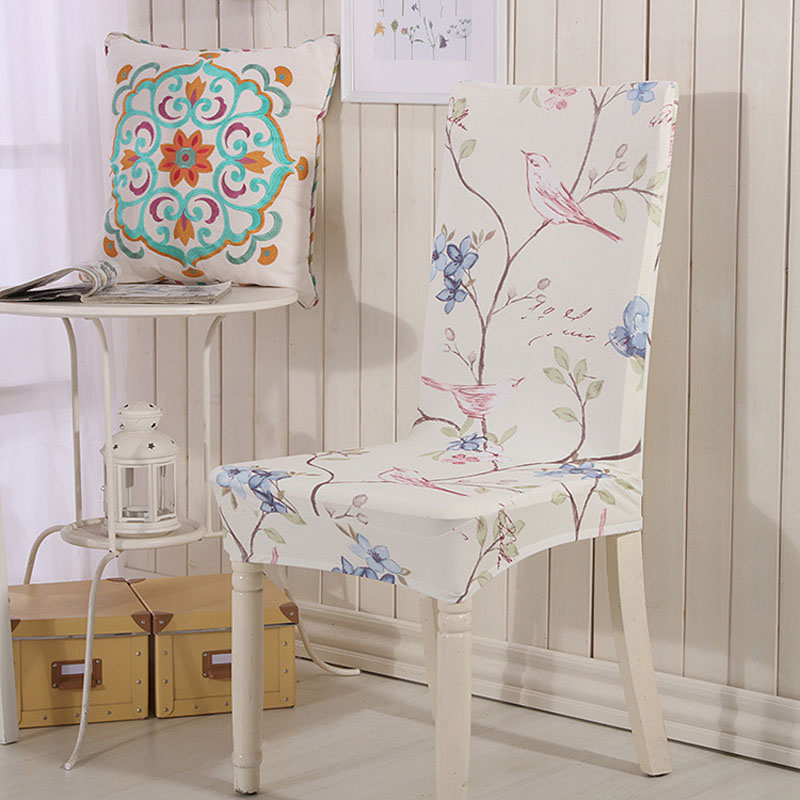 The magpies tree printed chair cover coprisedie funda for Housse chaise lycra