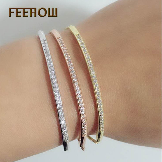 FEEHOW Top Quality Cubic Zirconia Bracelet &Bangles For Women Captivate Bar Slid
