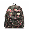 2015 Floral Print Leather Women Backpacks Fashion Hippie School Rivet Laptop Bags Travel Laptop Packs Rucksack bolsas mochila B