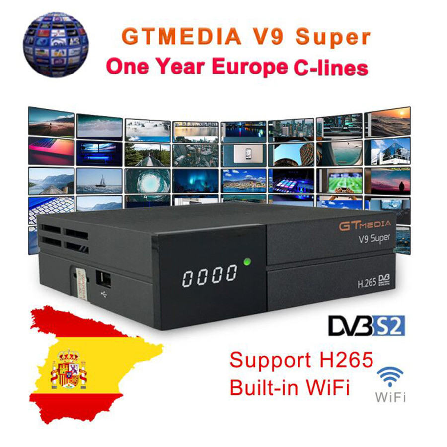 GTMedia V9 Super Satellite Receiver Bult in WiFi with 1 Year Spain Europe Cccam Cline Full