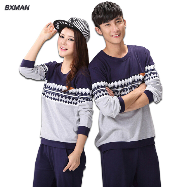 BXMAN Brand Men's Pajamas Hombre Casual Pajamas Man Cotton Geometric O-Neck Full Sleeve Men Pajamas Sets Best for Couples 59