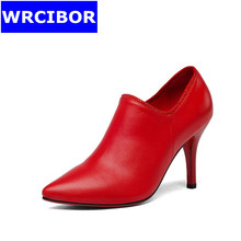 2017 Genuine leather womens shoes thin heels fashion High heels shoes for woman pointed toe red bottom high heels women pumps