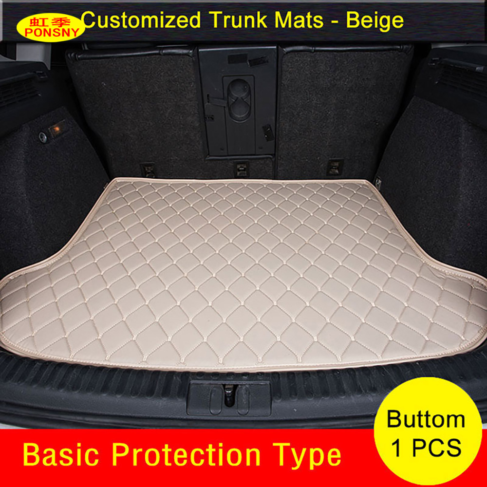 PONSNY for Ssangyong Rexton Korando Actyon Car Trunk Mats Carpets Waterproof Customized Trunk Rugs image