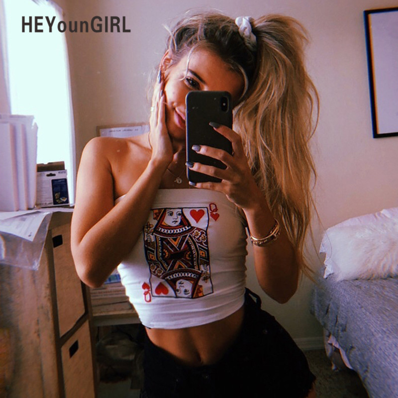 HEYounGIRL Embroidery White Strapless Crop Tops Tees Summer Sexy Bandeau Tube Top Bra Women Fashion Streetwear Wrap Chest Top 2