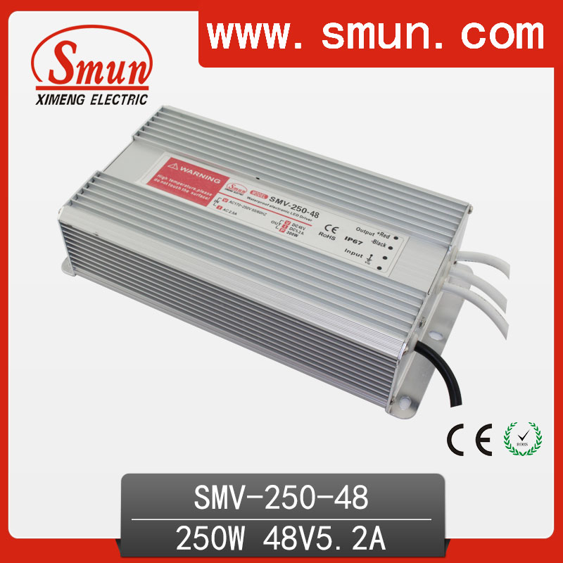 SMUN SMV-250-48 250W 48V 5A Outdoor Waterproof IP67 Switching Led Driver Led Power Supply With CE RoHS 400w s400w 48v 7 5a led rohs switching power supply 8a 85 265ac input power suply 48v output ce rosh