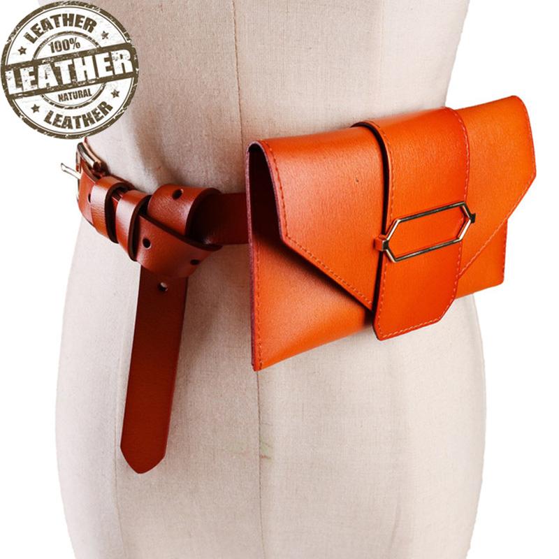 Fanny Pack Skin Fashion Designer Genuine Leather Women Waist Bags Detachable Belt Bag Female Mini Vintage Phone Pouch Coin Purse