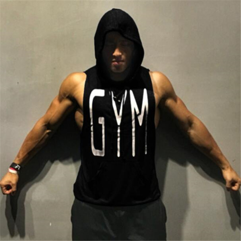 Brand Clothing Mens Gyms Hooded   Tank     Tops   Sleeveless Shirt Workout Hoodies with Pocket Bodybuilding and Fitness Stringer Vest