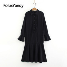 Casual Trumpet Dress Black Midi Vestidos Plus Size XXXL 4XL Turn-down Collar Flare Long Sleeve KKFY3085