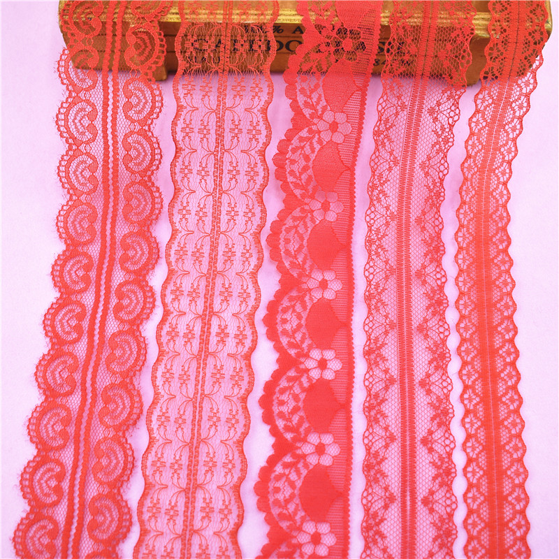 10Yards/lot Red Lace Ribbon Tape Clothing Dress Jewelry Embroidered Trim Ribbons Fabric Sewing Decoration Applique