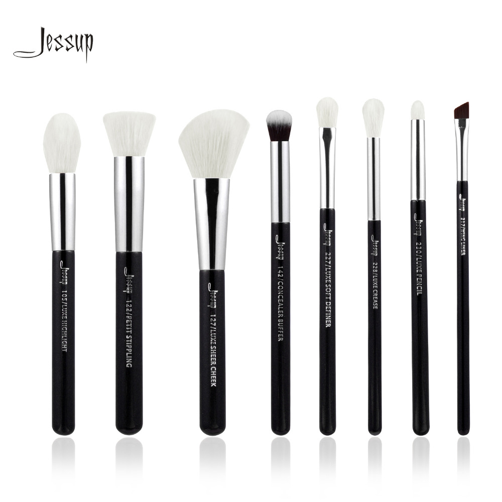 Jessup Brand Black/Silver Professional Makeup Brushes Set Make up Brush Tools kit Foundation Stippling natural-synthetic hair at fashion 12 pcs makeup brushes set studio holder portable make up cup natural hair synthetic duo fiber makeup brush tools kit