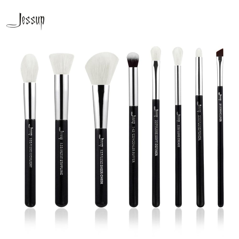 Jessup Brand Black/Silver Professional Makeup Brushes Set Make up Brush Tools kit Foundation Stippling natural-synthetic hair