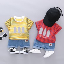 цены 2019 New Summer Kids Boys Girls Clothes Short Sleeve Stripe Letter Print T-shirt+Denim Shorts Children Casual Outfits Sets 6M-4T