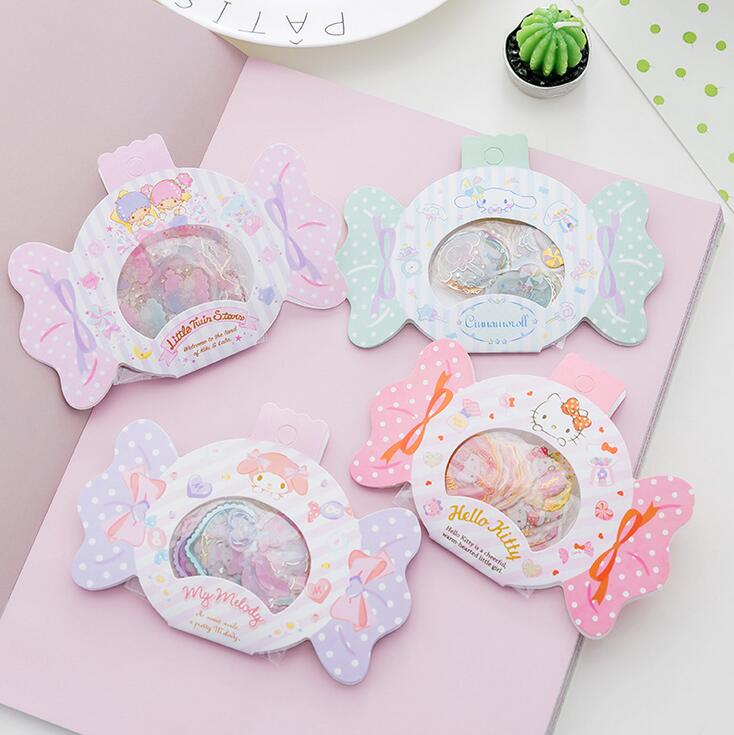 Hello Kitty My Melody Twin Star Candy Decorative Washi Stickers Scrapbooking Stick Label Diary Stationery Album Stickers цена и фото