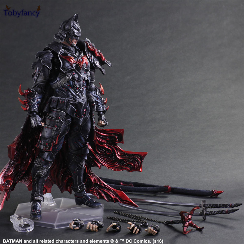 Tobyfancy Bushido Batman Action Figure Play Arts Kai PVC Toys 270mm Anime Warrior Bat Man Playarts Kai Model tobyfancy play arts kai action figures batman dawn of justice pvc toys 270mm anime movie model pa kai heavily armored bat man