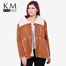 Kissmilk 2016 Women Plus Size Big Large 3XL 4XL 5XL 6XL New Fashion  Worsted Casual Loose Long Sleeve Coats Jacket