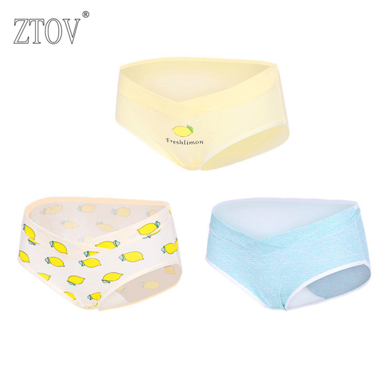 Ztov 3 unids/lote bajo-Cintura bragas de maternidad de algodón embarazo ropa interior Intimates ropa escritos para las mujeres embarazadas ropa