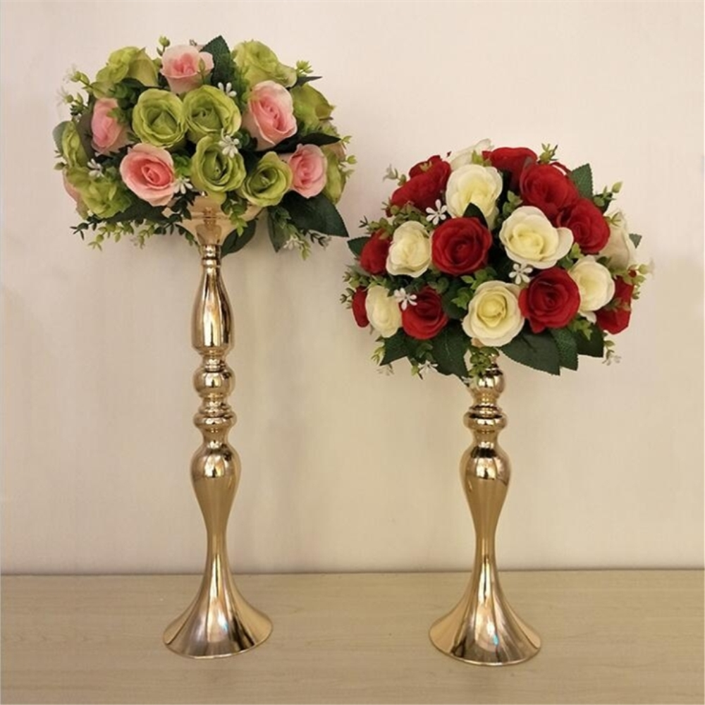 Home Decor Candle Holders Industrious Gold Candle Holders 50cm/20 Metal Candlestick Flower Vase Table Centerpiece Event Flower Rack Road Lead Wedding Decoration