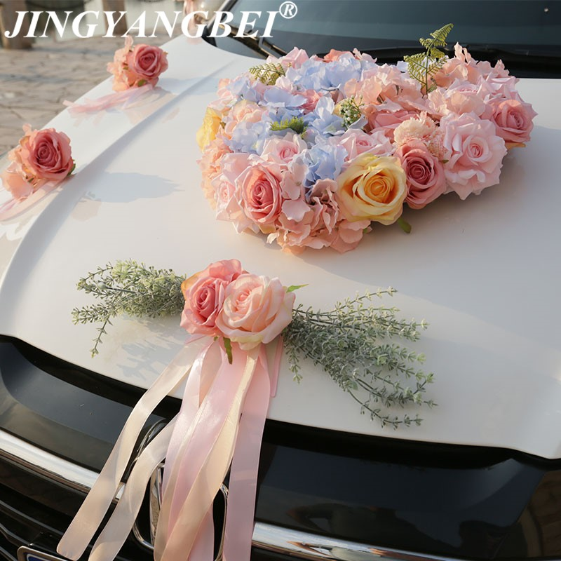 Rose soie Rose hortensia faux plantes fougère artificielle fleur ruban mariage voiture fleur ensemble décoration mariage fournitures-in Fleurs séchées et artificielles from Maison & Animalerie    1