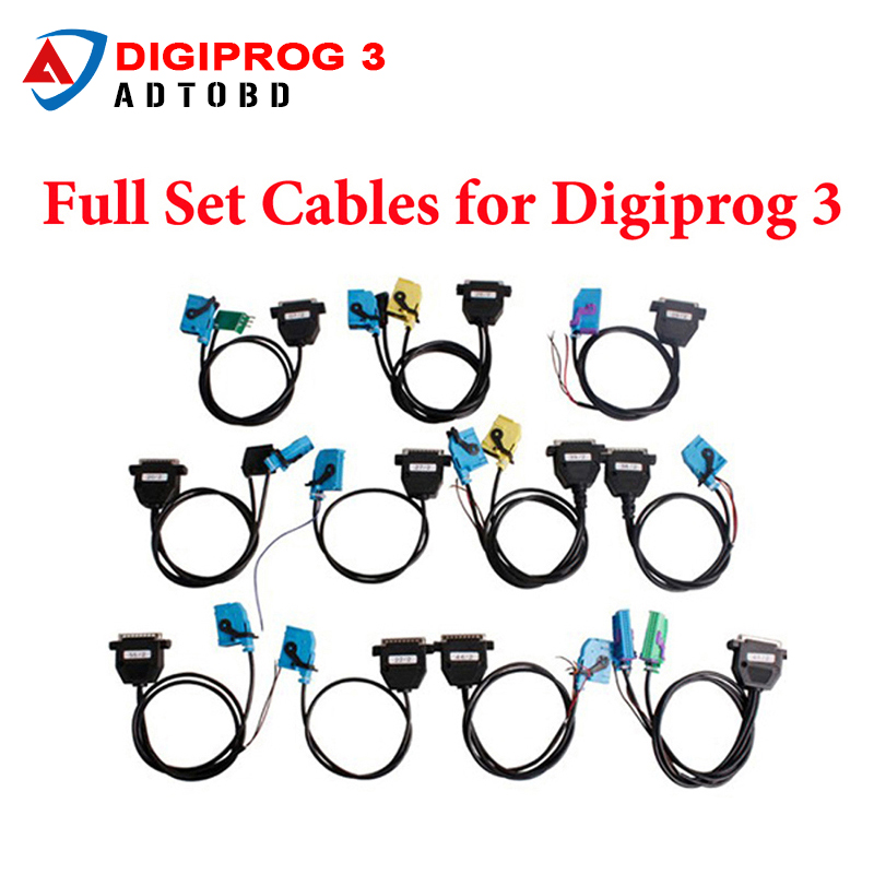 Hot sale A Full Set Cables of Digiprog III Digiprog 3 Odometer Programmer Correction Tool Digiprog3 Adaptors Free Shipping free shipping digiprog iii with obd good price
