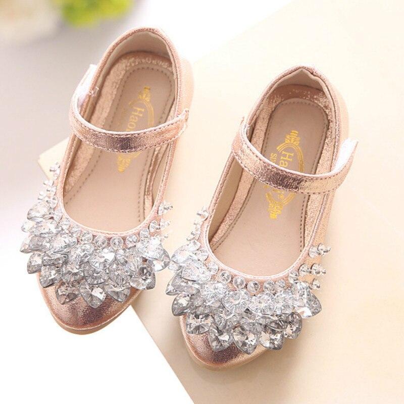 Сердце горный хрусталь Обувь для девочек принцесса Обувь Золото Розовый Щепка кожа Обувь для девочек обувь для детей для Танцевальная Вечеринка принцессы для девочек тонкие туфли