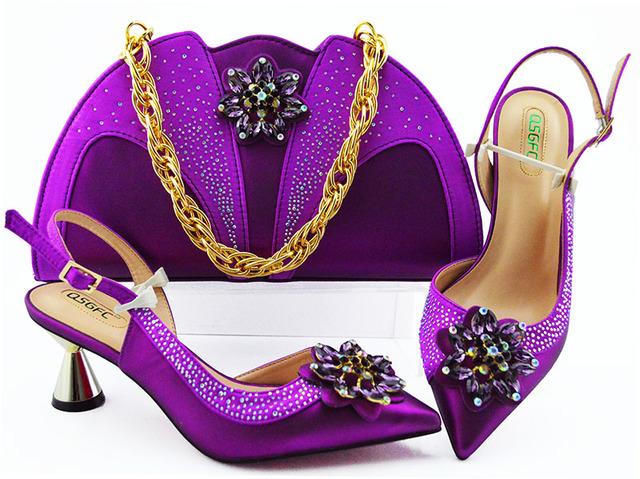 Wine New Design African Women Shoes And Bag Sets With Rhinestones Pumps Italian Shoes With Matching Bags For Evening Party