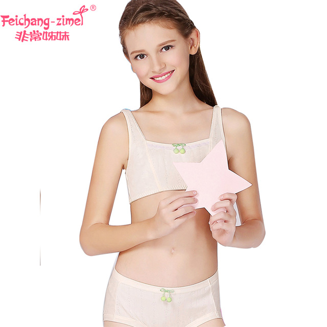 740417cc3445b New Free Shipping Feichangzimei Girls Underwear Girls Bra And Panties  Cotton White Apricot Cotton Vest Training Bra Set -100140S