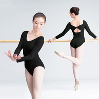 New Short Long Sleeve Cotton Ballet Dance Leotard Adult Girls Women Back Bowknot Gymnastics Dance Leotard