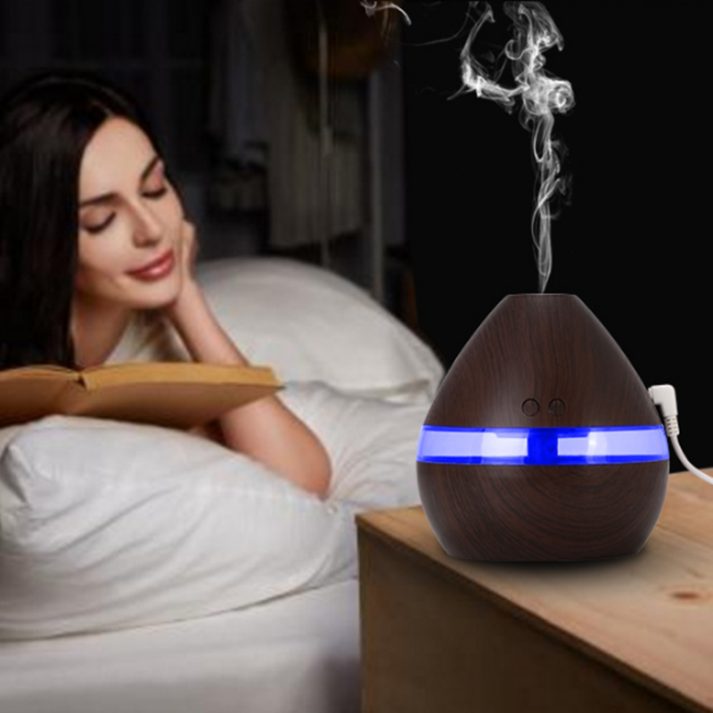 300 ml Mini Air Humidificateur À Ultrasons USB De Charge Wood Grain LED Lumières Huile Essentielle Humidificateur Aroma Diffuseur Pour La Maison De Voiture