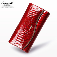 2017 new Alligator Genuine Leather Wallet Women Luxury Brand Female Purse Long Lady Party Wallet Clutch Cow Leather Purse Bag