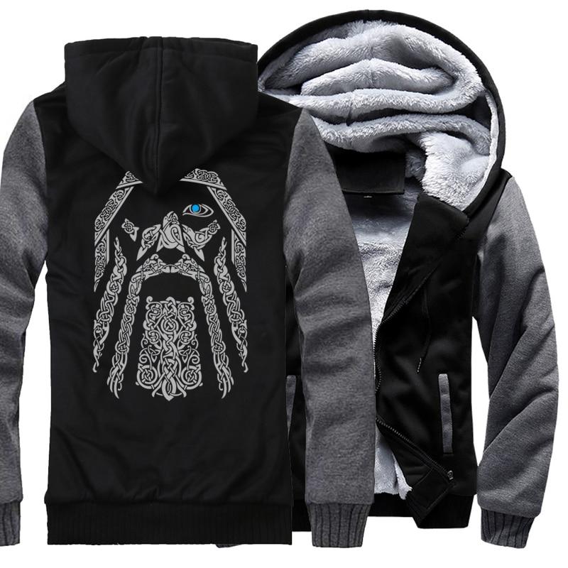 2018 di nuovo modo di lana fodera manica Camouflage cappotti Odin Vikings hoodies per gli uomini di inverno felpa raglan stampa giacca tuta