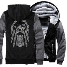2019 new fashion wool liner Camouflage sleeve coats Odin Vikings hoodies for men winter sweatshirt raglan print jacket tracksuit недорого