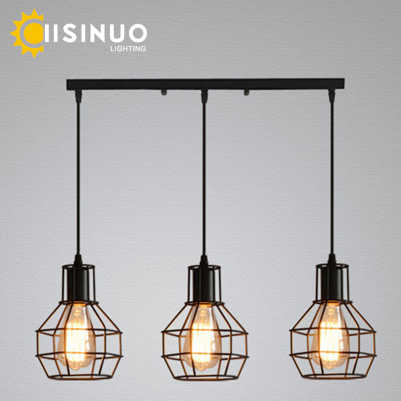Vintage American Country Style Pendant Light Industrial Loft Lamps Iron LED Pendant Lamp Hanging Lights Bar Cafe Restaurant vintage iron pendant light loft industrial lighting glass guard design cage pendant lamp hanging lights e27 bar cafe restaurant