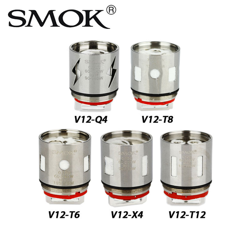 3 pz SMOK V12 Coil Testa V12-Q4/V12-X4/V12-T6/V12-T8/V12-T12 0.12/0.15/0.16/0.17ohm 60-350 W per TFV12 Serbatoio Atomizzatore Vapore Enorme