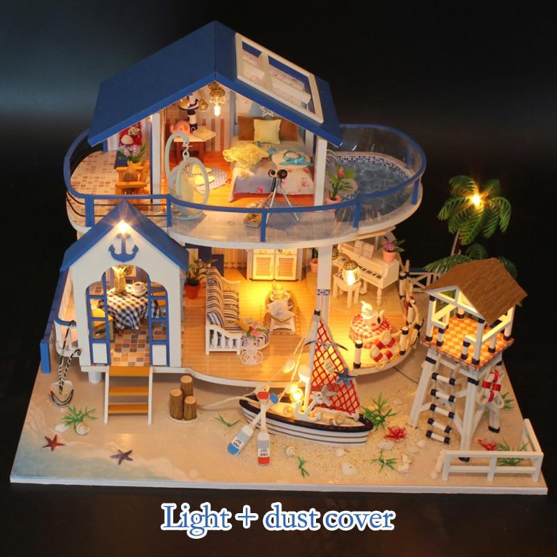 Jouets éducatifs bricolage LED maison de poupée mer Miniature Villa avec meubles en bois maison chambre modèle Kit cadeaux d'anniversaire jouets pour enfants