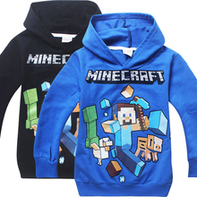 Kids Black Pullover Cotton Sweatshirt Minecraft Pattern Children Clothes Hoodie Gift For Boys