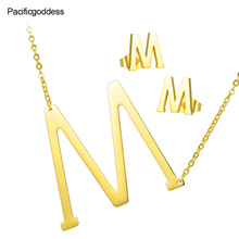 letters earring necklace set ' M 'pattern pendant stainless steel choker necklace Luxuriant Gold plated pendant necklace