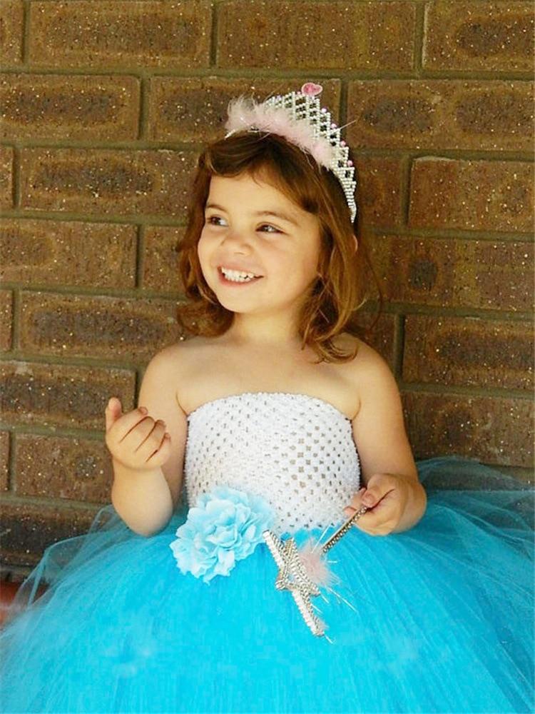Şirin Qızlar Ağ Mavi Crochet Tutu Donu Uşaqlar Çamaşırlı - Uşaq geyimləri - Fotoqrafiya 2
