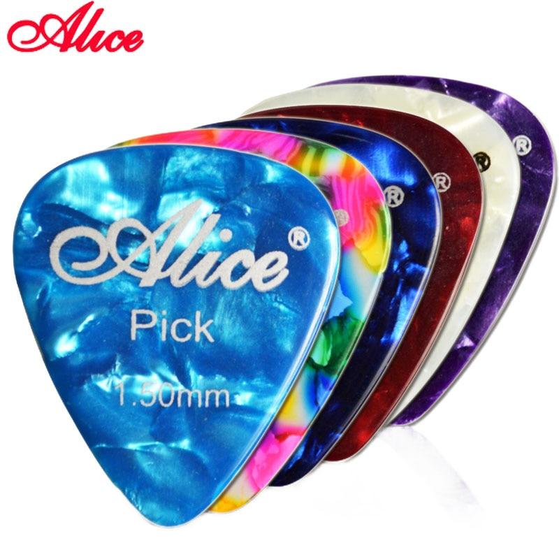 Alice Celluloid Guitar Pick Plectrum Mediator Gauge 0.46mm/0.71mm/0.81mm/0.96mm/1.2mm/1.5m Random Color Guitar Parts Accessories