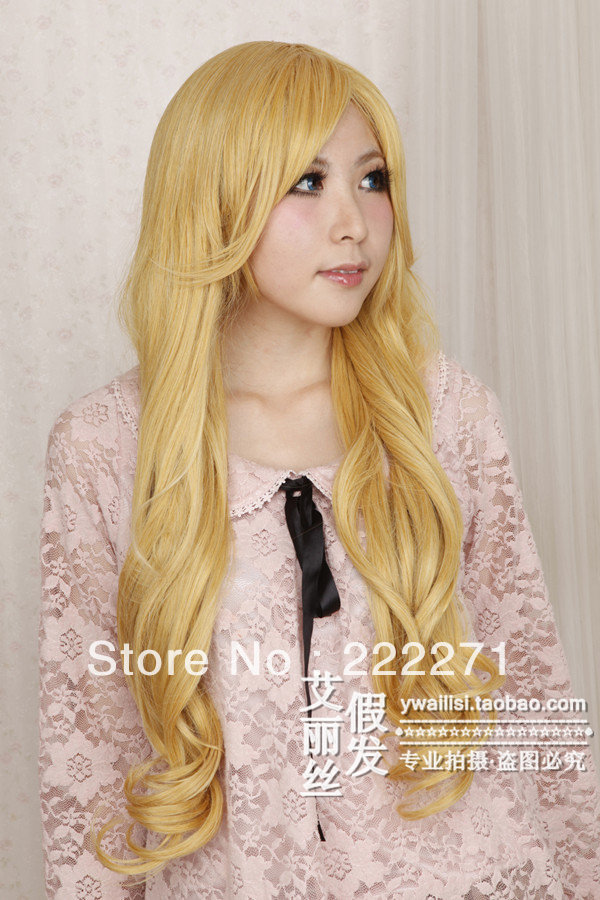 Anime IB Mary Long Wavy Blonde Full Lace Cosplay Wig Costume Heat Resistant + Cap