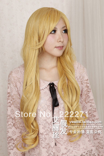 Free Track Anime IB Mary Long Wavy Blonde Full Lace Cosplay Wig Costume Heat Resistant + Cap