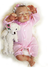 20 inch Lifelike Poseable Baby Girl Doll Collectible Reborn Bebe Gifts With Little Puppy