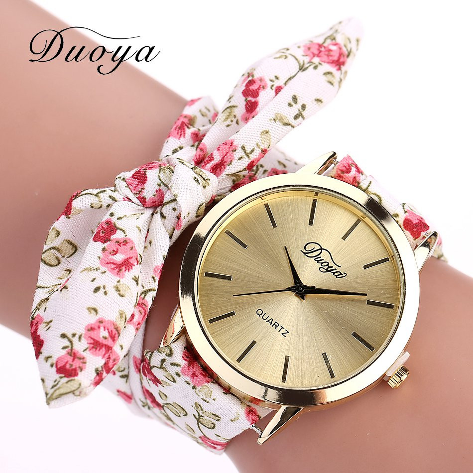 Fashion Women's Flower Star Bow Wristwatch Scarf Band Party Casual Watch Relogio Feminino Montre Femme Women Gift 328