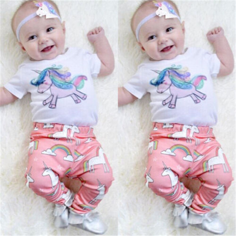 Baby Unicorn Clothing Set 2PCS Summer Cute Newborn Baby Girl Top T-shirt+Pants 2017 New Bebes Hot Sale Girls Clothes Set Outfits