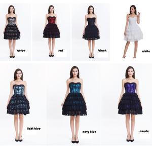 Image 3 - Corset met jurk steampunk gothic bustier Vrouwen Afslanken sexy taille kant bovenborst taille trainer party corset jurk top