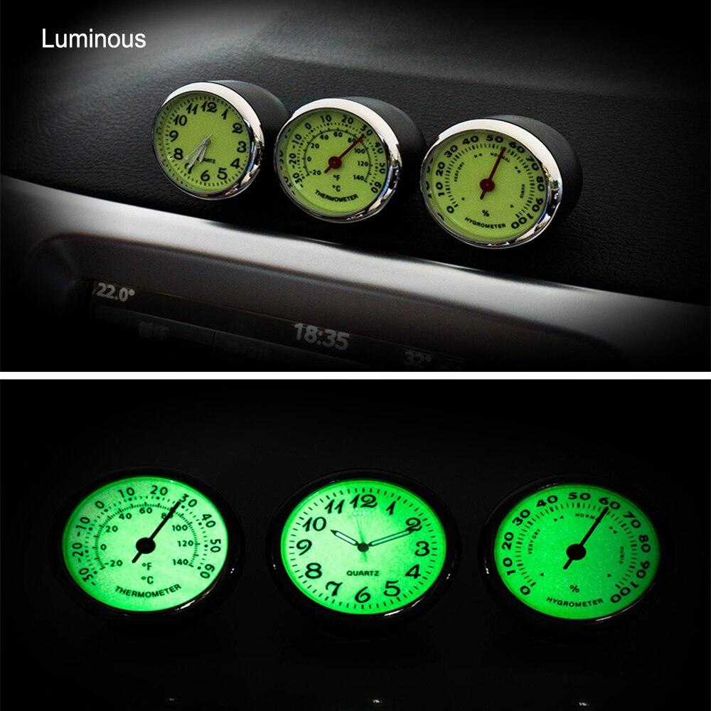 Luminous Car Quartz Watch Mini Car Clock Thermometer Hygrometer Car-Styling Car Decoration Mechanics Automobile Ornaments Decors